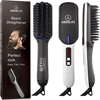 (Upgraded) Aberlite MAX - Beard Straightener for Men - Beard Straightening Heat Brush Comb Ionic - for Home & Travel
