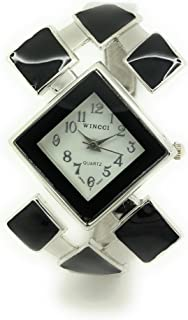 Ladies Stylish Casual Triangle Enamel Bangle Cuff Fashion Watch Wincci