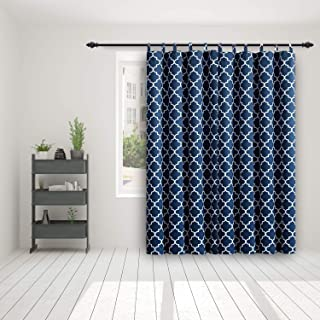 HGmart Extra Wide Privacy Outdoor Curtain - Blackout Printed Geometric Double-Sided Shade Drape Solid Top Door Blind for Patio/Gazebo/Front Porch 100 Inch Wide by 84 Inch Long