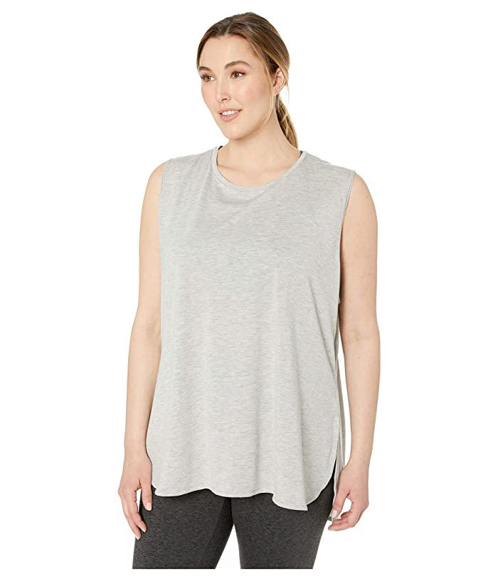 SHAPE Activewear Plus Size Physique High-Low Tank (Heather Grey) Women