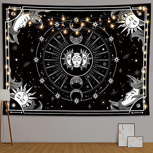 Sun and Moon Tapestry, Black and White Tapestry, Sun Moon Star Tapestry, Tapestries for Bedroom Aesthetic, Room Decor Tapestry, Wall Hanging Tapestry for Dorm Décor (51.2