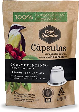 Coffee Quindio Capsules, Gourmet Coffee INTENSO, Compatible with Nespresso machines,100% Colombian
