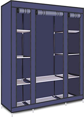 Smart Homez – 10 Shelf Collapsible Clothes Wardrobe Cabinet - Blue | Snap-Connect Steel Frame with Duralight Fabric Cover