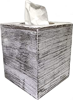 Ahaus Imports - Rustic Wood Tissue Box Cover - Square - Weathered White Barnwood - Slide Out Bottom - Great Gift Idea