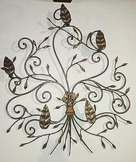 applique a 5 luci, con foglie di rame, in ferro battuto
