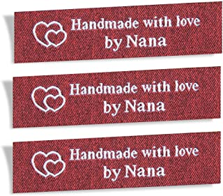 Wunderlabel Handmade with Love by Nana Granny Mix Thread Craft Art Fashion Woven Ribbon Ribbons Tag Clothing Sewing Sew Clothes Garment Fabric Material Embroidered Label Tags, White on Red, 25 Labels