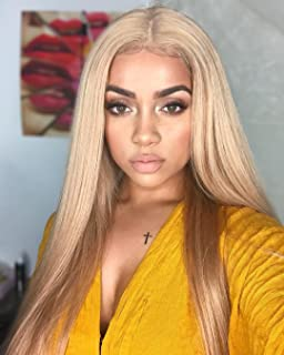 FUHSI Kanekalon Fiber 13×6 Inch Lace Real Natural For Women – Soft & Smooth, Straight Lace Front Wig, Elastic Straps, Comfortable & Adjustable –Color 103# Blonde 250D 22