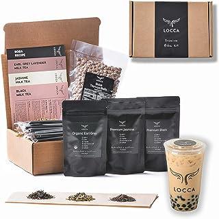 Locca Bubble Tea Kit   Organic Earl Grey Lavender, Jasmine, Black Tea   24+ Boba Drinks   Premium Loose Leaf Teas   DIY Ki...