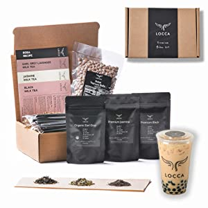 Locca Bubble Tea Kit   Organic Earl Grey Lavender, Jasmine, Black Tea   24+ Boba Drinks   Premium Loose Leaf Teas   DIY Kit for Boba Making   The Classic