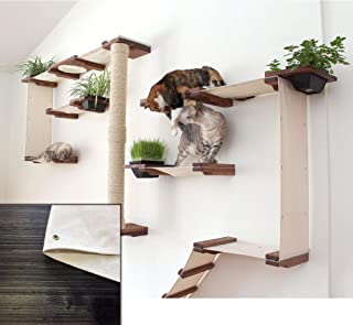 CatastrophiCreations Cat Gardens Wall-Mounted Climb and Play Furniture Cat Tree Shelves with Planter for Grass - English Chestnut/Natural One Size