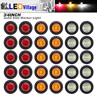 30 Pcs TMH 3/4 Inch Surface Mount 10 pcs Amber + 10 pcs Red + 10 pcs White LED Clearance Markers Bullet Marker lights, side marker lights, led marker lights, led trailer marker lights
