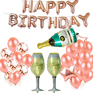 Birthday Decorations Party Supplies - Rose Gold Happy Birthday Foil Balloons Letters Banner Giant Champagne Bottle Goblet for Birthday Party Supplies,Anniversary Events Decorations