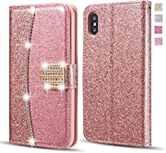 UEEBAI Wallet Flip Case for iPhone 11 Pro Max, Premium Glitter Glossy PU Leather Case with Diamond Buckle [Card Slots] [Magnetic Clasp] Stand Function Rhinestone Strap Handbag Soft TPU Cover-Rose Gold