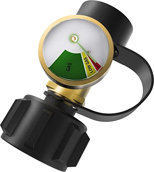 DozyAnt Propane Tank Gauge Level Indicator Leak Detector Gas Pressure Meter Universal For RV Camper Cylinder BBQ Gas Grill Heater And More Appliances Type 1 Connection