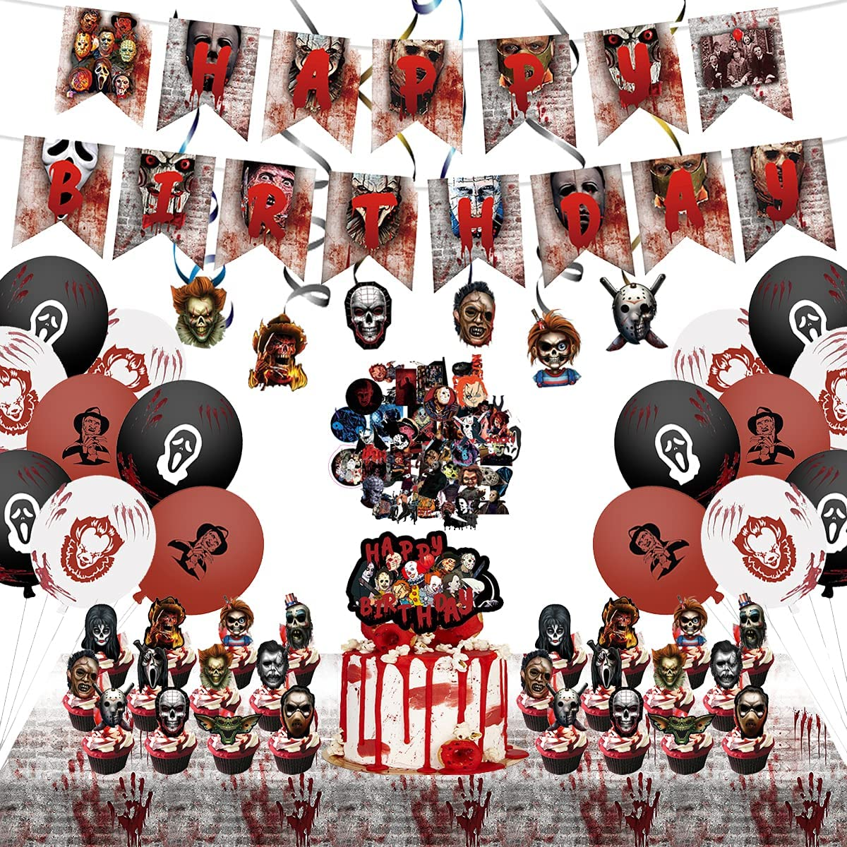 WILDPARTY Classic Horror Movie Party Decoration Supplies Include Banners Latex Balloons Hanging Swirls Cake Cupcake Toppers Stickers Table Cover for Kids Adults Nightmare Before Halloween Party Decor