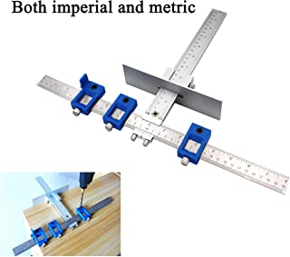 Both Inch and Metric - Quick-Set Cabinet Drilling Jig/Template for Easy Installation for Handles and Knobs on Doors and Drawer Fronts, Fastest and Most Accurate Knob & Pull Jig-Improve for inch Scale.