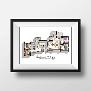 Friends TV Show Apartment Poster - Friends TV Show Layout - Apartment of Joey,Chandler,Monica and Rachel