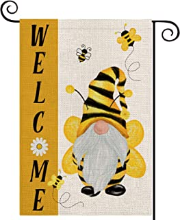 LARMOY Summer Welcome Gnome Bees Garden Flags for Outdoor,12×18 Vertical Double Sided,Gnome with Bees Small Summer Yard Fl...