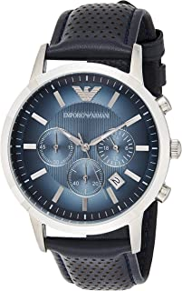 Emporio Armani Mens Quartz Watch, Analog Display and Leather Strap AR2473
