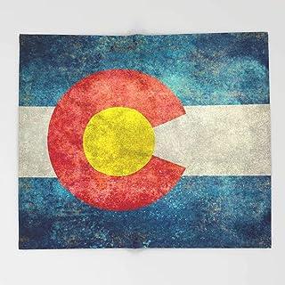 NQW Manta nórdica de la Bandera del Estado de Colorado Vintage Grunge para sofá Senderismo Picnic edredón Grueso Colcha de Moda Manta de Lana