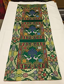 Tibetan Green Endless Knot Silk Brocade Table Runner/Shrine Cover/Altar Cloth/Table Cover