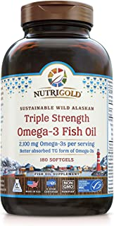 Triple Strength Omega-3 Fish Oil Supplement, Better Absorbed TG Form, Made in USA, 5-Star Certified, ConsumerLab Approved, Certified Sustainable, 180 Burpless Softgels (2,100 mg Omega-3s per Serving)