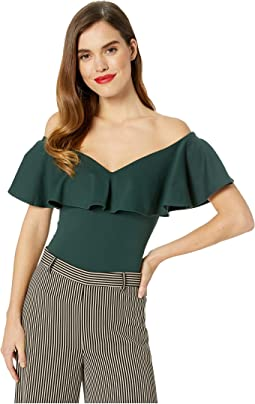 1950s Off the Shoulder Ruffle Frenchie Knit Top