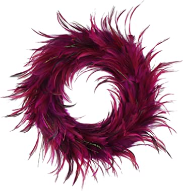"Hackle Peacock Feather Christmas Wreath - 18"" Pink Farmhouse Autumn or Fall Decor"
