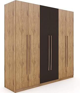 "Manhattan Comfort Gramercy Contemporary Modern Freestanding Wardrobe Armoire Closet, 82.48"", Nature and Textured Grey"