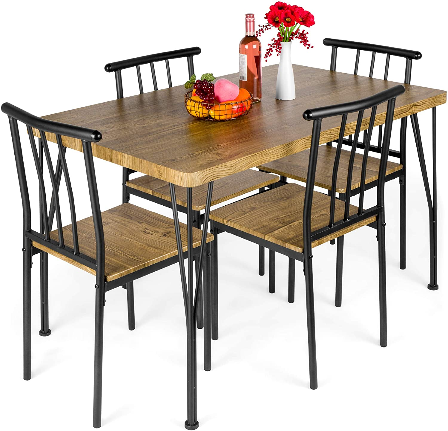 Best Choice Products 9 Piece Metal and Wood Indoor Modern Rectangular  Dining Table Furniture Set for Kitchen, Dining Room, Dinette, Breakfast  Nook w/ ...