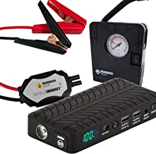 Rugged Geek RG1000 Safety Plus 1000A Portable Car Jump Starter Battery Pack Jump Box and USB/Laptop Power Supply with LCD Display, INTELLIBOOST Smart Cables, LED Flashlight, and 12V AIR COMPRESSOR!
