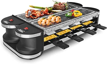 Artestia Electric Dual Raclette Grill with High Density Grill Stones, Easy Setup in 360° Rotation, Serve the whole family (Dual Stone Raclette)