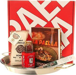 La Paella SET-02 Kit with 14-Inch Stainless Steel Pan Box Gift Set Medium Silver
