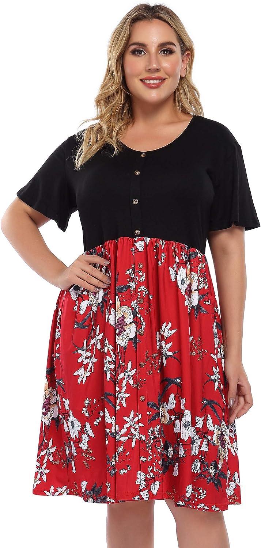 AMZ PLUS Womens V Neck Patchwork Button Business Casual Plus Size A Line Midi Dress with Pockets