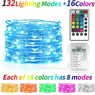 Kaulsoue 132 Lighting Modes 16 Colored, Battery Operated Powered 16.4ft 50 Led Fairy Lights Color Changing. Led String Lights with Remote, with Timer, for Bedroom Indoor Christmas.