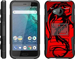 TurtleArmor | Compatible with HTC U11 Life Case [Hyper Shock] Hybrid Dual Layer Armor Holster Belt Clip Case Kickstand - Red Dragon