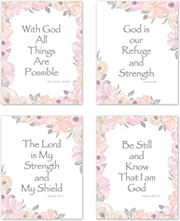 KB & Me Bible Verse Wall Art Inspirational Quotes Religious Christian Scripture Sayings Psalm Home Decor Prints – Set of 4 Pink and Grey Floral 8 x 10 inches