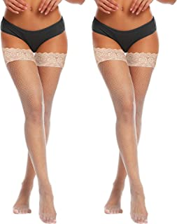 Womens Sexy Fishnet Thigh-High Stockings with Silicone Lace Top