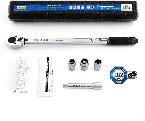 S&R Llave Dinamométrica 1/2 ' 46 cm (28-210 Nm) + Barra extensión 1/2 ' de 12.5 cm + 3 insertos (17, 19, 21 mm) para ...