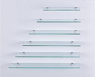 Euro Mesas estante de cristal–cristal transparente, 6mm cristal de seguridad, estante de cristal, estantes de cristal, base de vidrio Incluye soporte