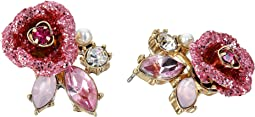 Betsey Johnson - Glitter Rose Stud Earrings