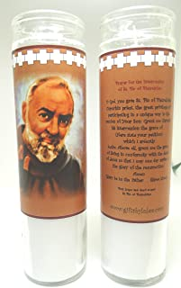 Gifts by Lulee, LLC Set of 2 St Father Padre Pio Prayer Candles 2 Veladoras Del Padre Pio