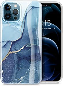 GVIEWIN Compatible with iPhone 12 Pro Max Case 6.7 Inch 2020, Marble Ultra Slim Thin Glossy Soft Shockproof TPU Rubber Stylish Flexible Protective Cover for iPhone 12 Pro Max (Navy Blue)