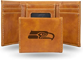 NFL Rico Industries Laser Engraved Trifold Wallet, Seattle Seahawks, 3.25 x 4-inches