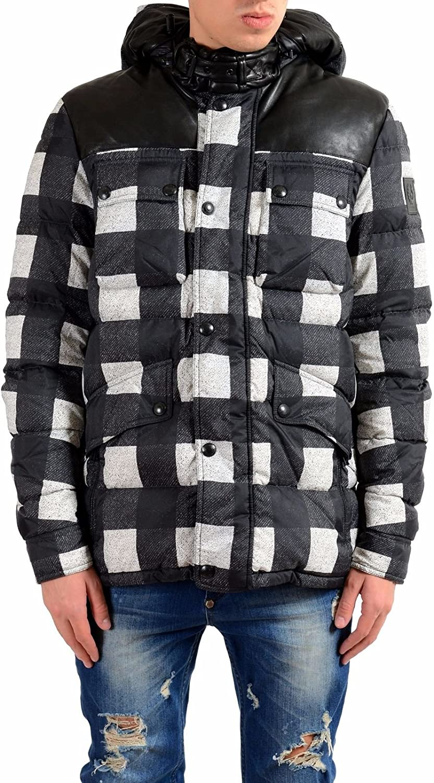 Belstaff Leather Multi-Color Checkered Full Zip Men's Parka Jacket XL IT 54