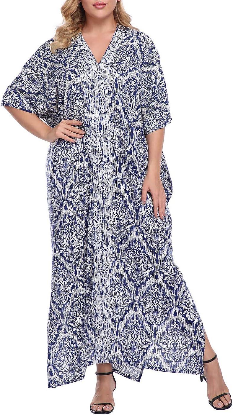 HDE Women UPF 30+ Kaftan Dress Oversize V Neck Long Plus Size Maxi Swim Cover Up