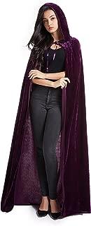 Unisex Halloween Costume Cape Hooded Velvet Cloak for Men and Womens