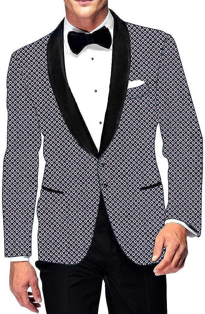 INMONARCH Mens Slim fit Casual Dark Navy Cotton Blazer Sport Jacket Coat White Red Print SB10306-2XL50 50 X-Long Navy Blue