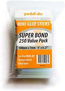 """Yeddido Mini Hot Glue Sticks - Clear (250 Count Bulk Pack) 4"""" Length and 0.27"""" Diameter - Compatible with Most Glue Guns - Kids Adults DIY, Arts and Crafts Use - Sealing and Repairing - Quick Melting"""