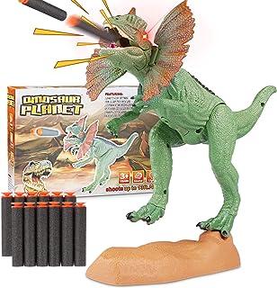 WOSTOO Dinosaurie set, katapult mun dinosaurie realistisk Jurassic grön dinosaurie med lysande ögon, ljud och för småbarn ...